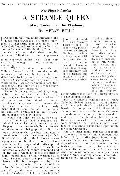Mary Tudor review in the Illustrated Sporting and Dramatic News 27 December 1935