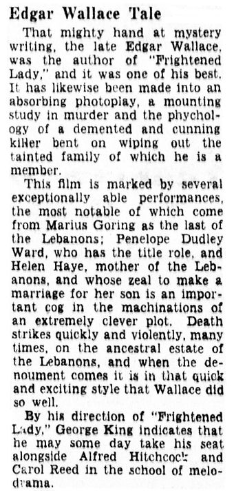 The Case of the Frightened Lady review in the Pittsburgh Sun-Telegraph on Monday 29 September 1941