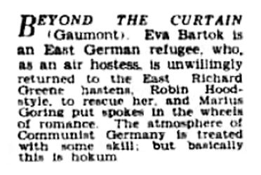 Beyond the Curtain review in the Birmingham Daily Post 20 May 1960
