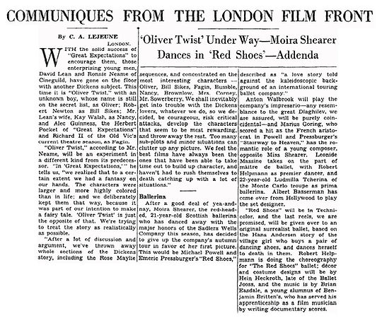 The Red Shoes article by C.A. Lejeune in The New York Times 28 June 1947