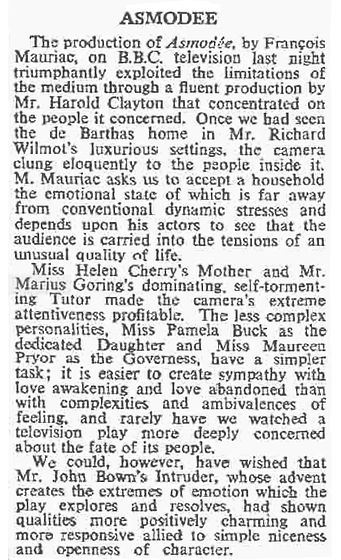 Asmodée review in The Times 10 June 1959