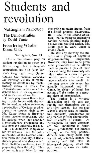 The Demonstration review by Irving Wardle in The Times 20 November 1969