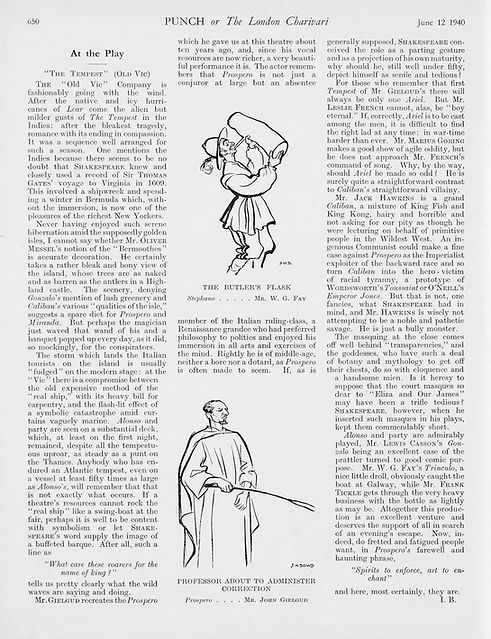 The Tempest review by Ivor Brown in Punch 12 June 1940