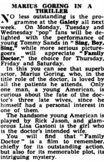 Family Doctor/Rx Murder review in the South Wales Gazette 13 June 1958