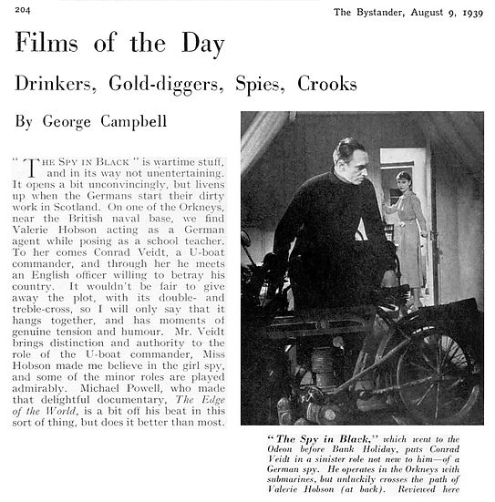 The Spy in Black review & photo in The Bystander 9 August 1939