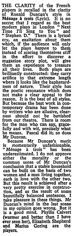 Ménage à Trois review by Harold Hobson in The Sunday Times 24 March 1963