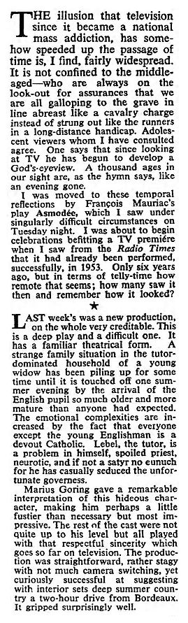 Asmodée review by Maurice Richardson in The Observer 14 June 1959
