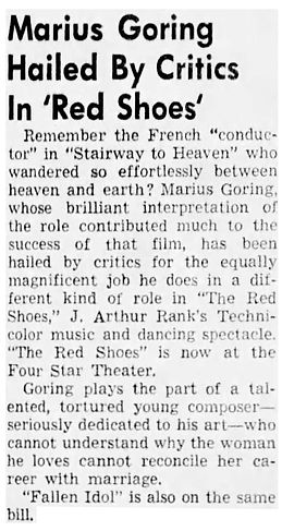 The Red Shoes review in the Valley Times (North Hollywood, California) 27 March 1951