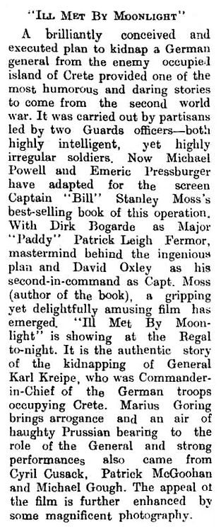 Ill Met By Moonlight review in the Brechin Advertiser 5 May 1957