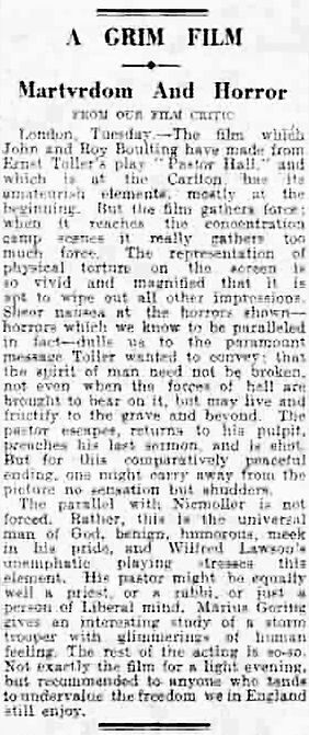 Pastor Hall review in the Liverpool Daily Post 22 May 1940