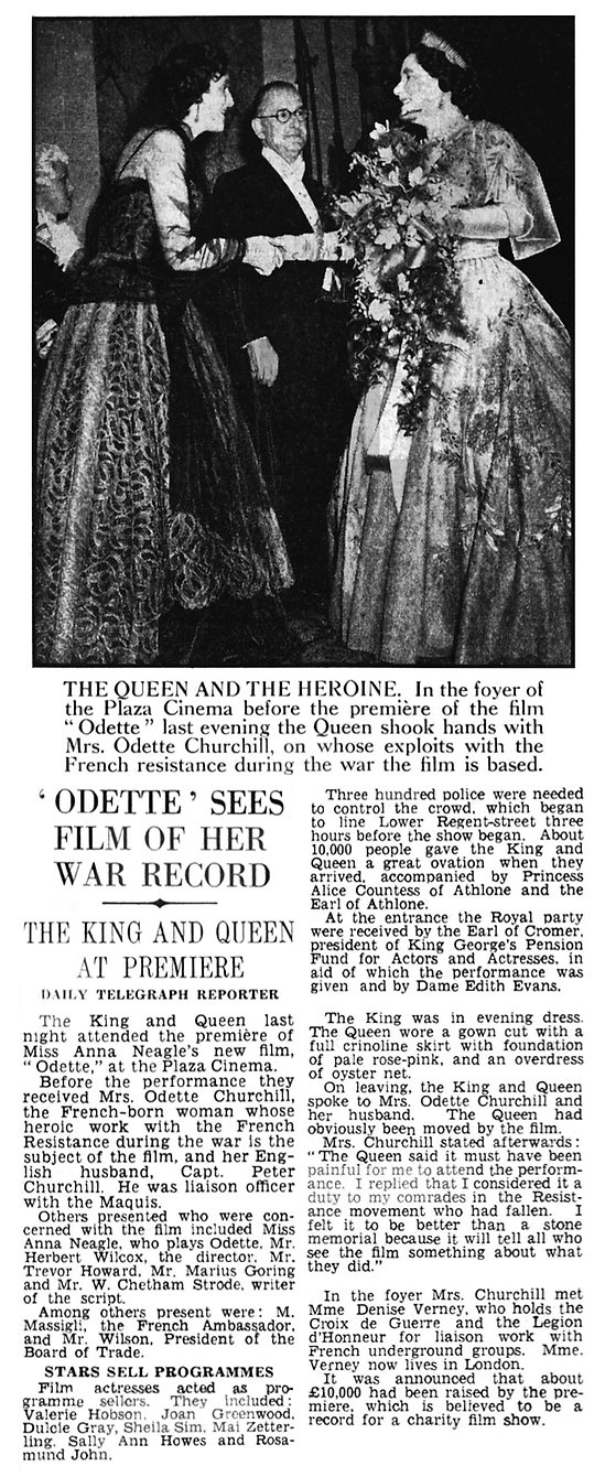 Odette Film Premiere article with photo in The Daily Telegraph 7 June 1950