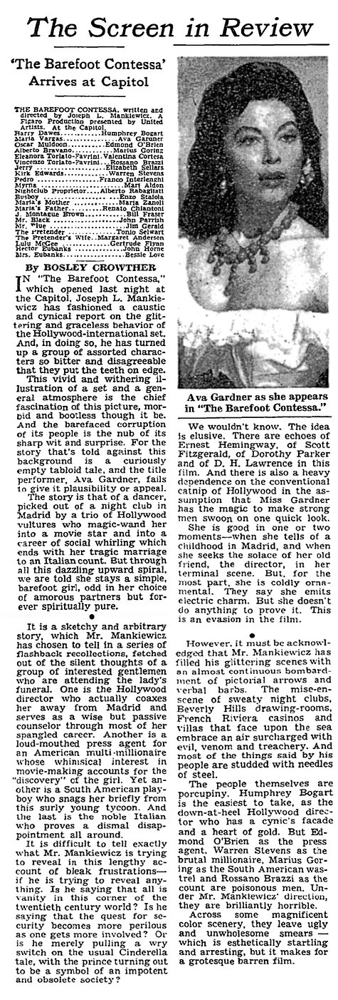 The Barefoot Contessa review by Bosley Crowther in The New York Times 30 September 1954
