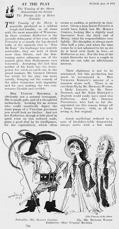 The Taming of the Shrew review & caricature by Ronald Searle in Punch 24 June 1953