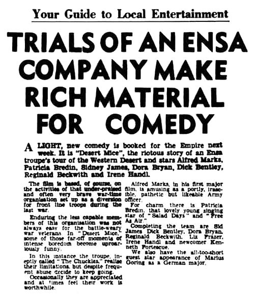 Desert Mice review in the Walsall Observer, and South Staffordshire Chronicle 12 February 1960