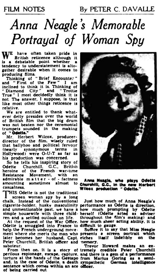 Odette review by Peter C. Davalle in the Western Mail 1 July 1950