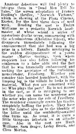 Dead Men Tell No Tales review in The Exeter and Plymouth Gazette 28 April 1939