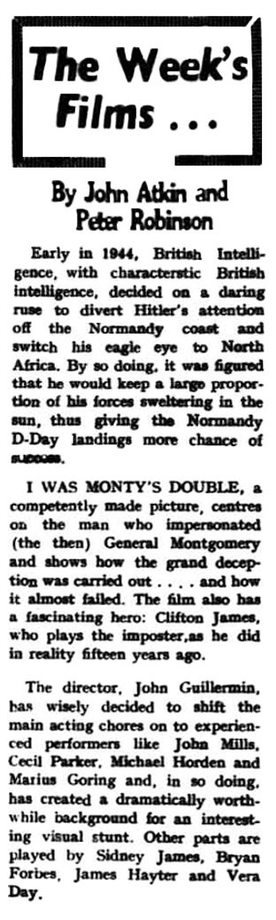 I Was Monty's Double review in the Sleaford Gazette 26 June 1959