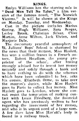 Dead Men Tell No Tales review in The Perthshire Advertiser 21 January 1939