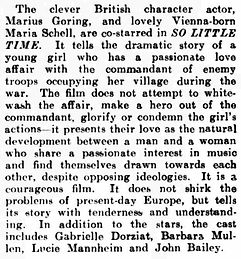 So Little Time review in the Montrose Standard 18 December 1952