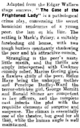 The Case of the Frightened Lady review in the Daily Gazette for Middlesbrough 26 October 1940