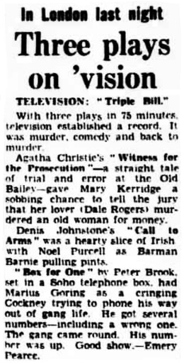 Box for One review in the Daily Herald 11 June 1949