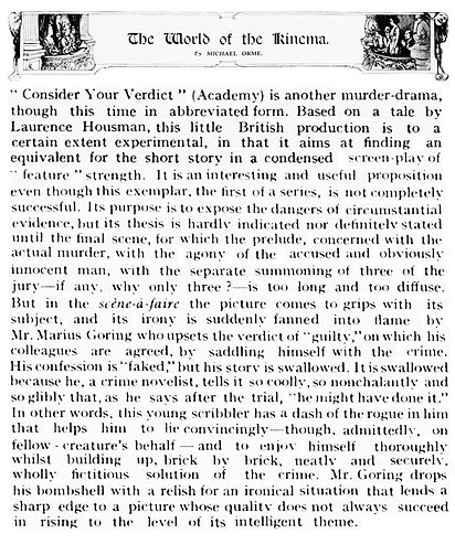 Consider Your Verdict review by Michael Orme in The Illustrated London News 18 February 1939