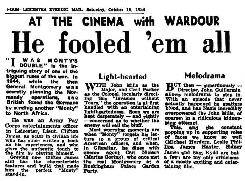 I Was Monty's Double review in the Leicester Evening Mail 18 October 1958