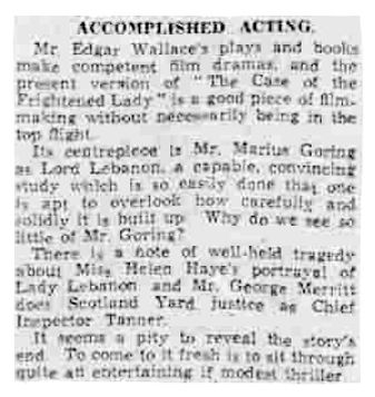 The Case of the Frightened Lady review in the Western Morning News 29 October 1940