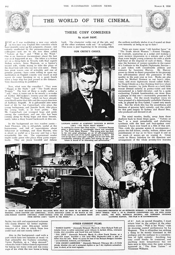 The Truth about Women review in the Illustrated London News 8 March 1958
