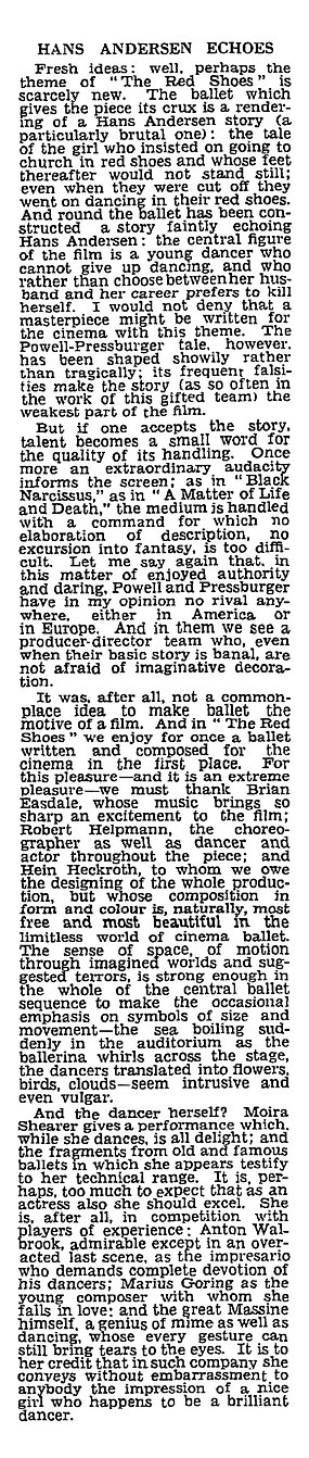 The Red Shoes review by Dilys Powell in The Sunday Times 25 July 1948