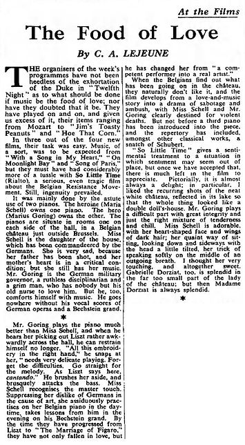 So Little Time review by C.A. Lejeune in The Observer 20 April 1952