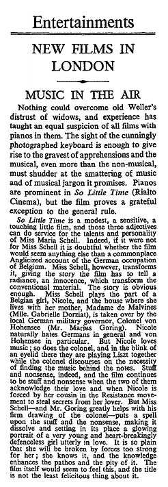 So Little Time review in The Times 21 April 1952