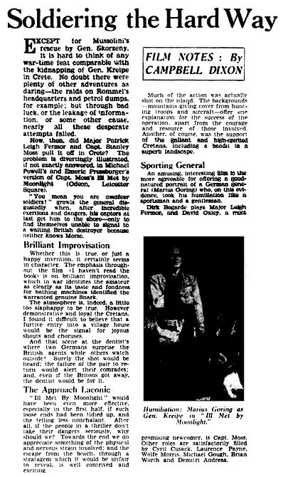 Ill Met By Moonlight review by Cambell Dixon in The Daily Telegraph 2 February 1957
