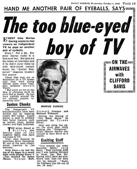 The Scarlet Pimpernel article in The Daily Mirror 5 October 1955