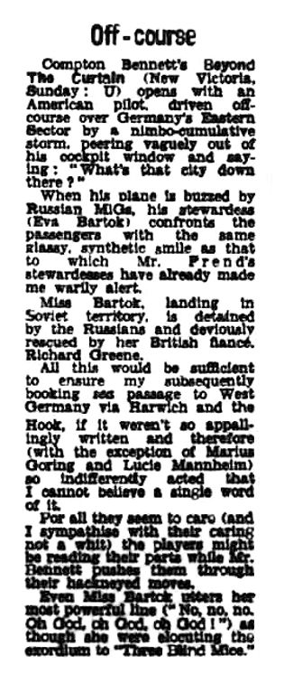 Beyond the Curtain review in the Daily News (London) 22 April 1960