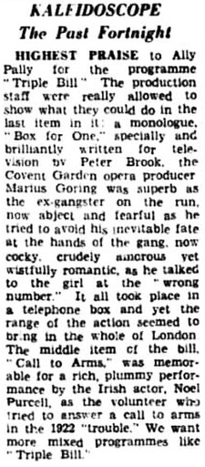 Box for One review in the Kensington Post 24 June 1949