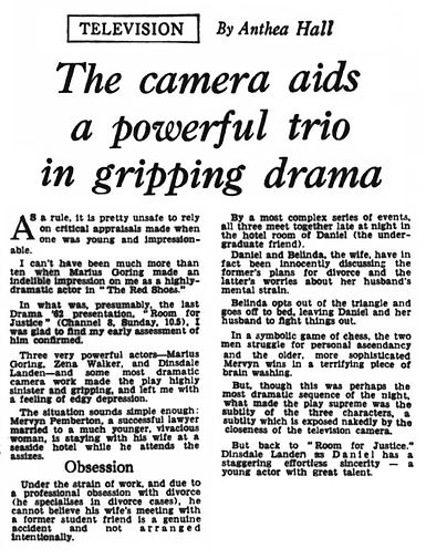 Room for Justice review by Anthea Hall in The Journal Weekend Magazine 5 January 1963