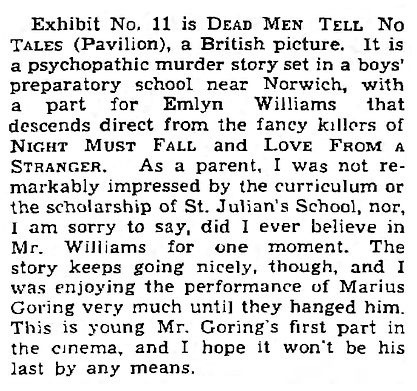 Dead Men Tell No Tales 1938 review by C.A. Lejeune in The Observer 13 March 1938