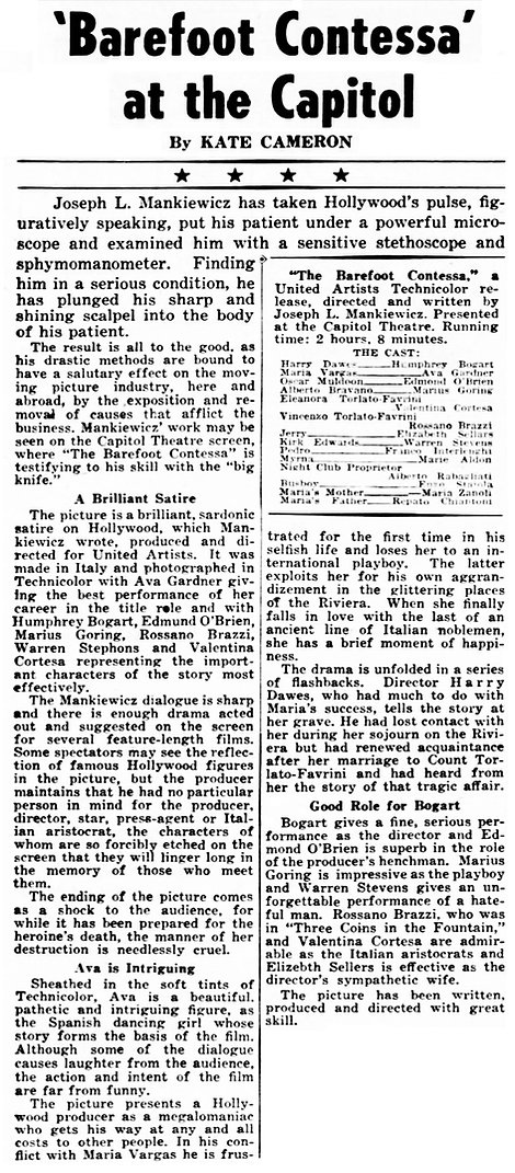 The Barefoot Contessa in The Times Dispatch (Richmond Virginia) 11 November 1954