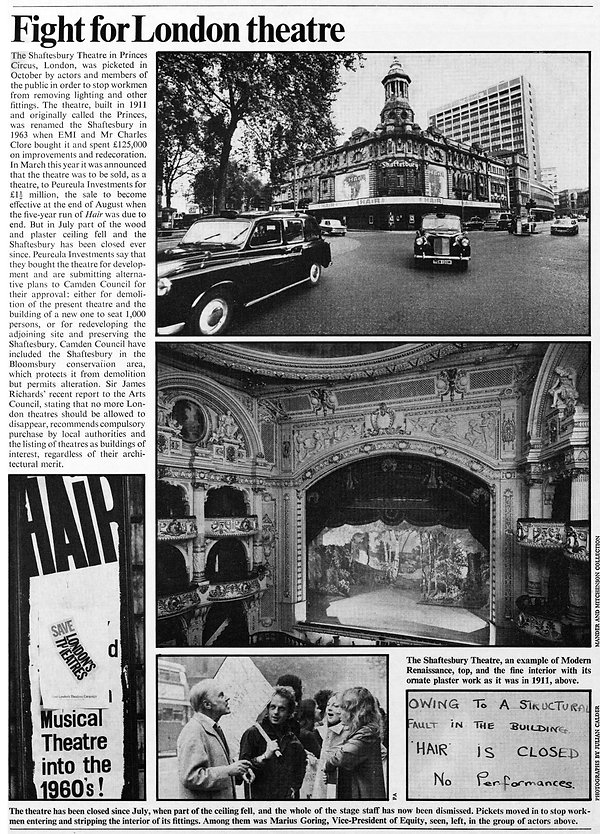 Fight for London Theatre (Shaftesbury) article feat. photo of MG in The Illustrated London News 24 November 1973