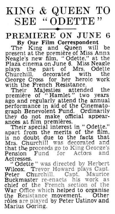 Odette article - King and Queen to see Odette in The Daily Telegraph 26 April 1950