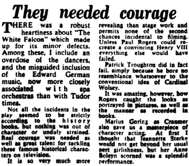 'The White Falcon' review in the Birmingham Daily Gazette 6 February 1956