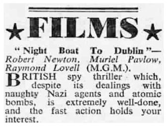 Night Boat to Dublin review in the Reveille 9 March 1946