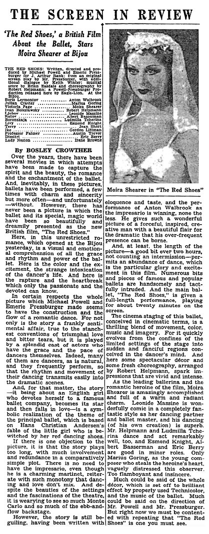 The Red Shoes review by Bosley Crowther in The New York Times 22 October 1948