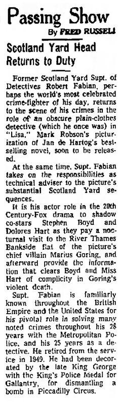Lisa (The Inspector) article in The Bridgeport Post (Bridgeport, Connecticut) 21 May 1962