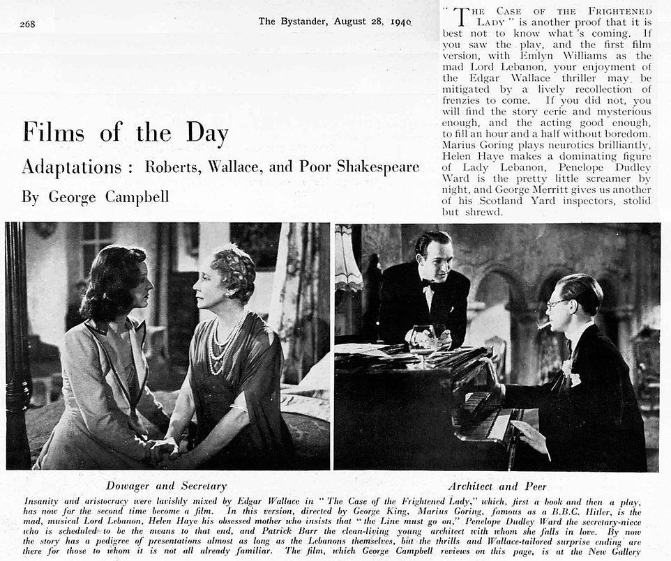 The Case of the Frightened Lady review with pics in The Bystander 28 August 1940