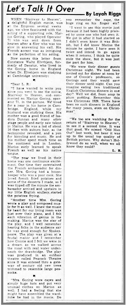 Letter to columnist Layah Riggs re Marius Goring in the Herald and Review (Decatur, Illinois) on 19 October 1947