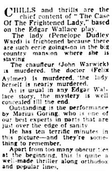The Case of the Frightened Lady review in the Weekly Dispatch (London) 18 August 1940