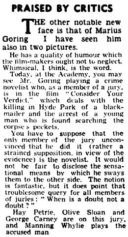 Consider Your Verdict review & article in the London Daily News 1 February 1939