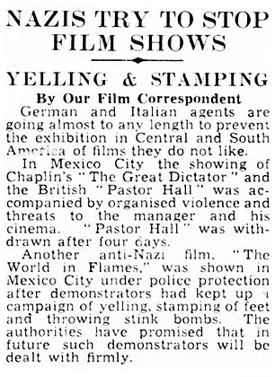 Pastor Hall - Nazis Try to Stop Film Shows article in The Daily Telegraph 14 February 1941
